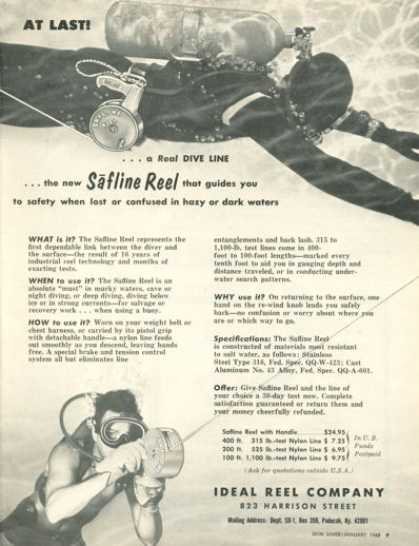 Ideal Reel Safline Scuba Diver Diving Safety (1968)