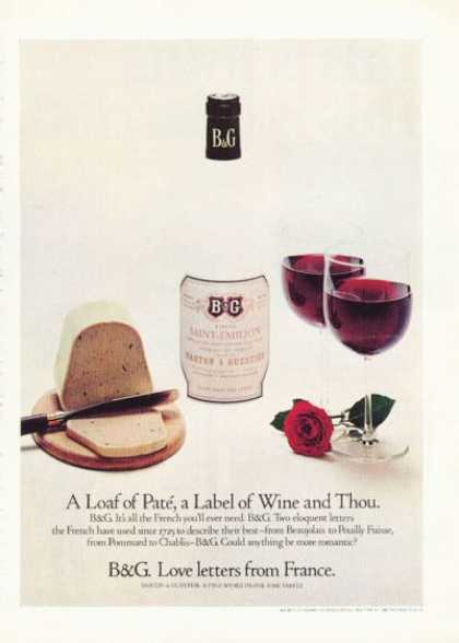 B & G Barton Guestier French Wine Cheese Pate' (1972)