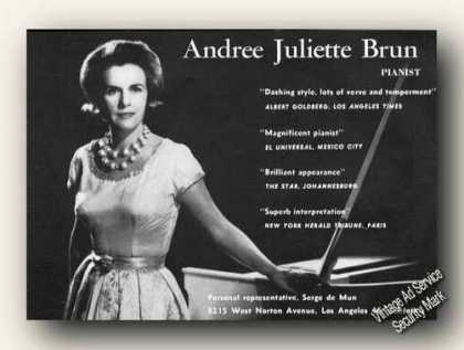 Andree Juliette Brun Photo Pianist Rare (1967)
