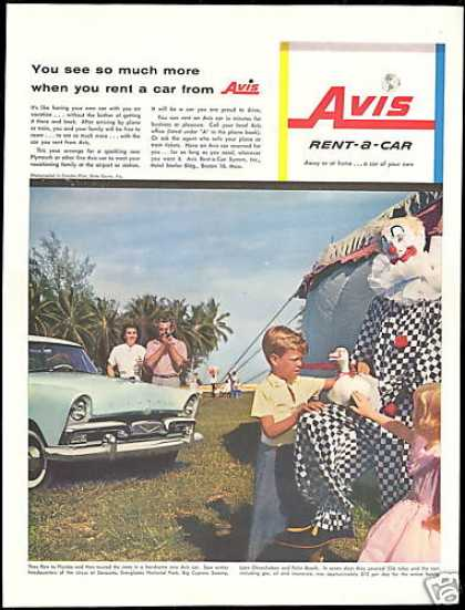Avis Rent A Car Circus Clown Florida Sarasota (1956)