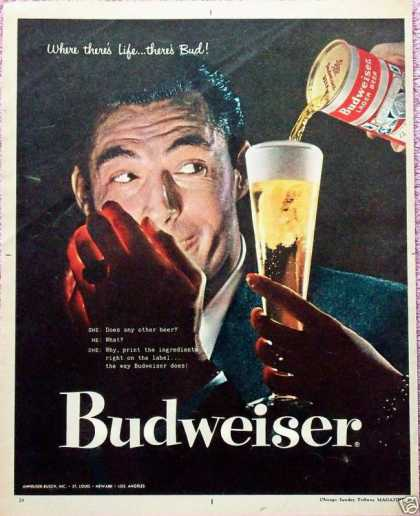 Budweiser Beer Man Lighting Up Smoke Dark Glass (1957)