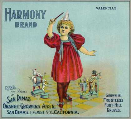 San Dimas, California, Harmony Brand Citrus Label