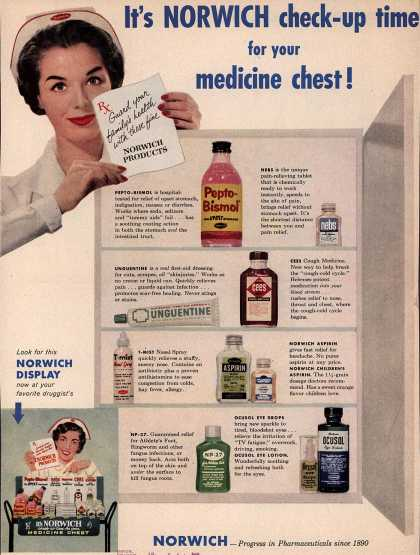 Norwich Pharmacal Co. – It's Norwich check-up time for your medicine chest (1958)