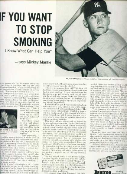 Mickey Mantle In Ca Bantron Smoking Deterrent (1958)