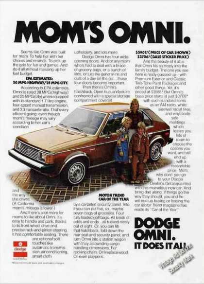 """Mom's Omni"" Collectible Dodge Car (1978)"