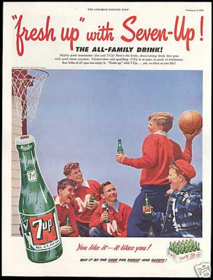 Basketball Letterman Seven Up 7-up Photo (1952)