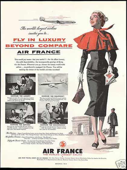 Air France Airlines Pretty Woman Kane Art (1954)