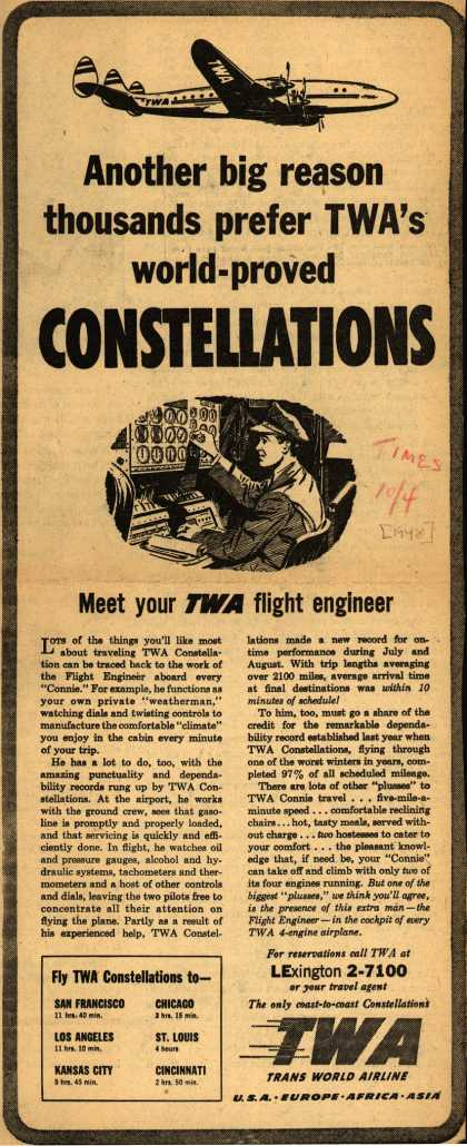 Trans World Airline's Constellations – Another big reason thousands prefer TWA's world-proved Constellations (1948)