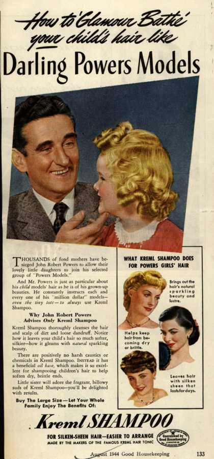 Kreml's shampoo – How to 'Glamour Bathe' your child's hair like Darling Powers Models (1944)