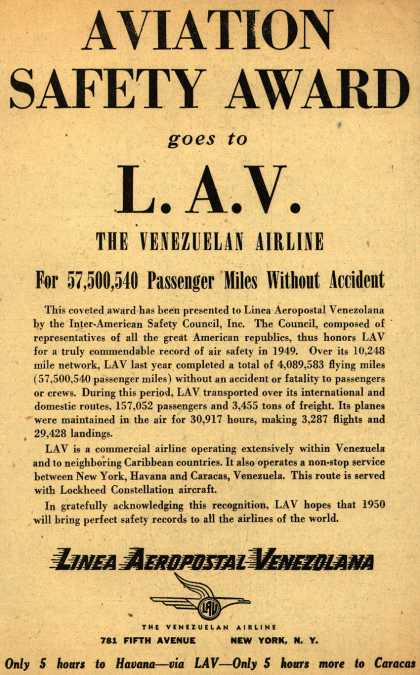 Linea Aeropostal Venezolana- The Venezuelan Airline's Safety award – Aviation Safety Award goes to L.A.V. The Venezuelan Airline (1950)