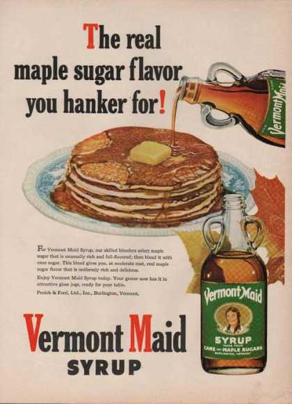 Vermont Maid Syrup Real Maple (1949)