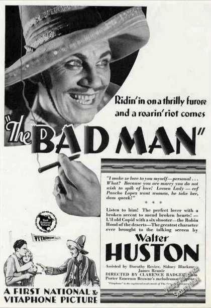 """The Badman"" By Walter Huston Antique Movie (1930)"