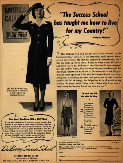 """Richard Hudnut's Du Barry Success School – """"The Success School has taught me how to live for my Country!"""" (1941)"""