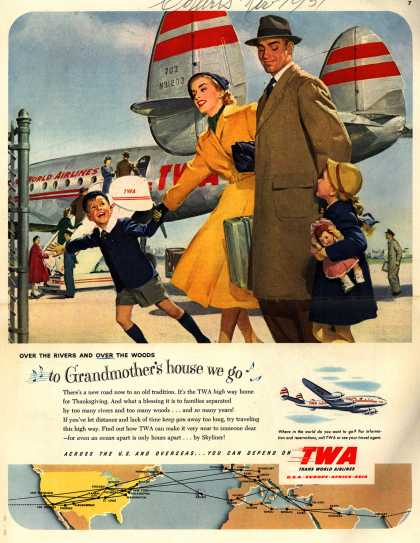 Trans World Airline's Thanksgiving Travel – Over the Rivers and Over the Woods to Grandmother's house we go (1951)