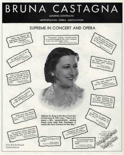 Bruna Castagna Photo Concert & Opera Booking (1941)