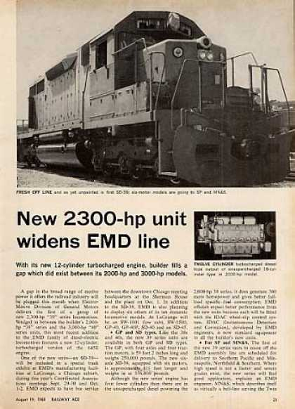 """New 2,300-hp Unit Widens Emd Line""Article/gp (1968)"