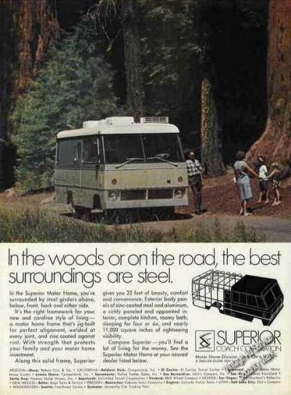 Superior Motor Home In Giant Redwoods Photo (1971)