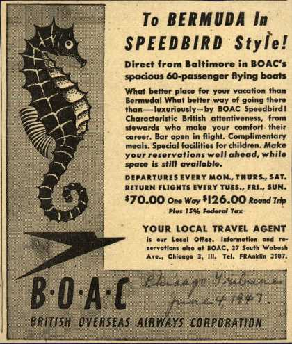 British Overseas Airways Corporation's Bermuda – To Bermuda in Speedbird Style (1947)