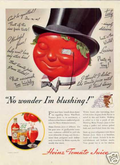 "Heinz Tomato Juice Ad ""No Wonder I'm Blushing... (1935)"