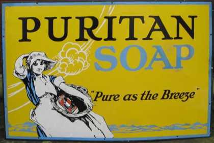 Puritan Soap Girl Enamel Sign