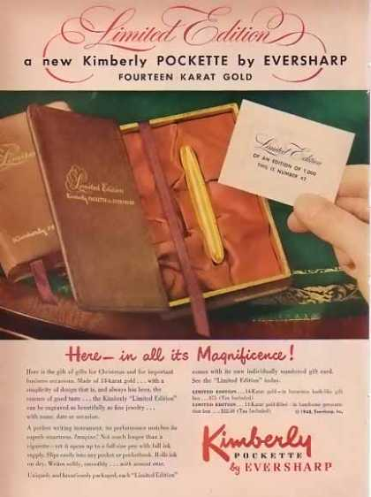 Kimberly Pockette Pen Christmas by Eversharp (1948)