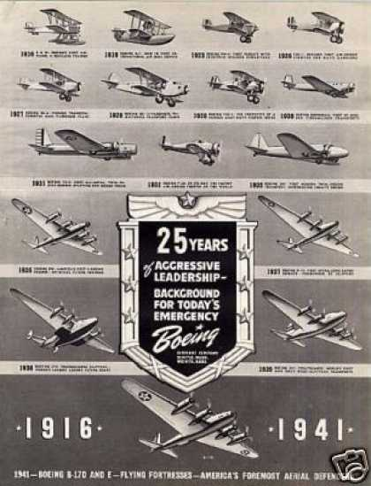 Boeing Aircraft Ad 1916- Planes (1941)