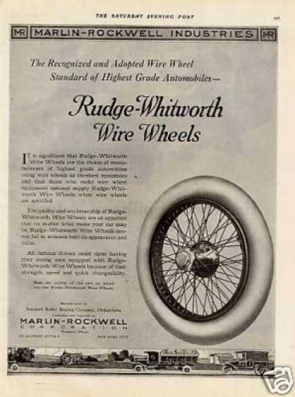 Marlin-rockwell Wire Wheels & Bearings Ad 2 Page (1920)
