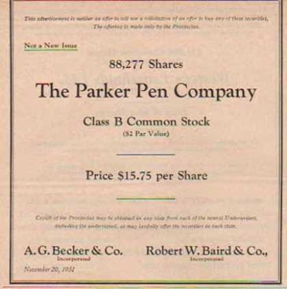 Parker Pen Corporation Securities (1951)