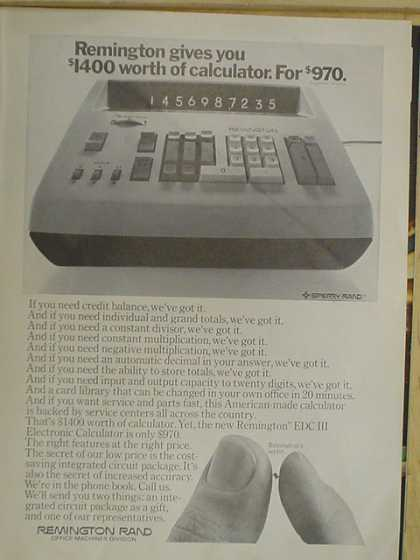 Remington Rand office machines. $1400 worth of calculator for $970 (1968)