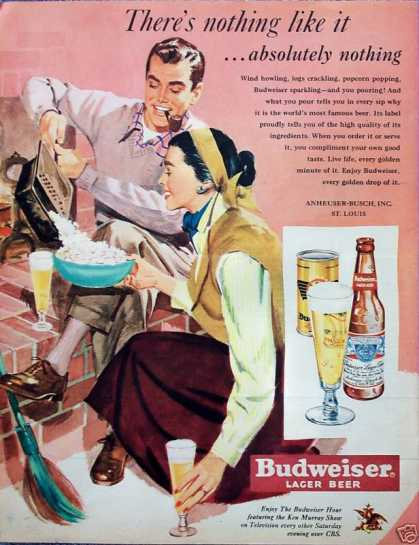Budweiser Beer Couple Brick Fireplace Popcorn (1950)