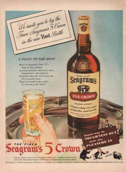 Seagrams 5 Crown Whiskey Pleasure In (1942)