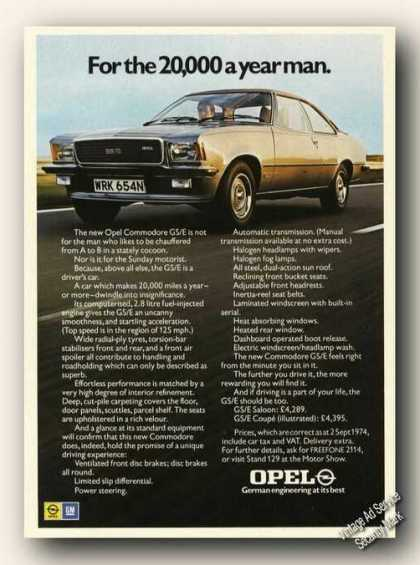 Opel Commodore Gs/e Photo Uk Print Ad Cars (1975)