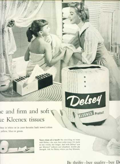 Delsey Toilet Paper Ad C Mother & Daughter (1955)