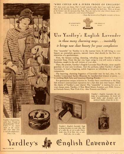 Yardley & Co., Ltd.'s English Lavender – Use Yardley's English Lavender in these many charming ways... inevitably it brings new clear beauty for your complexion (1929)