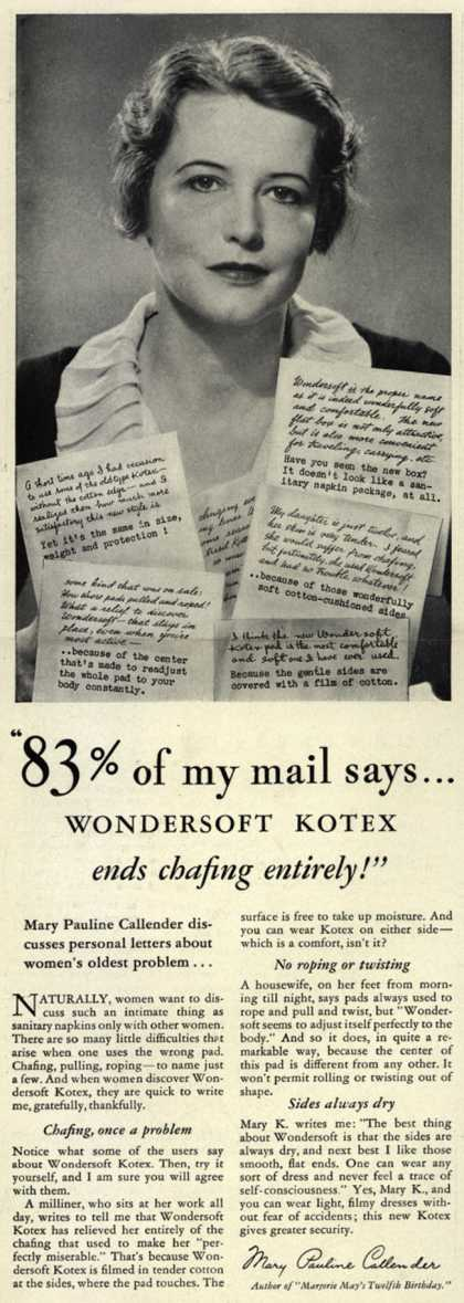 "Kotex Company's Wondersoft Kotex – ""83% of my mail says...Wondersoft Kotex ends chafing entirely!"" (1934)"