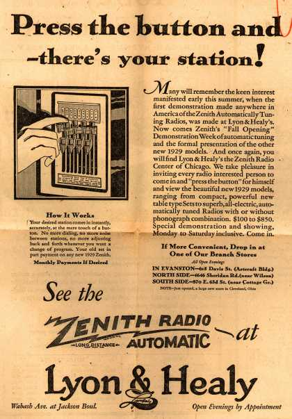Zenith Radio Corporation's Zenith Automatically Tuning Radios – Press the button and – there's your station (1928)