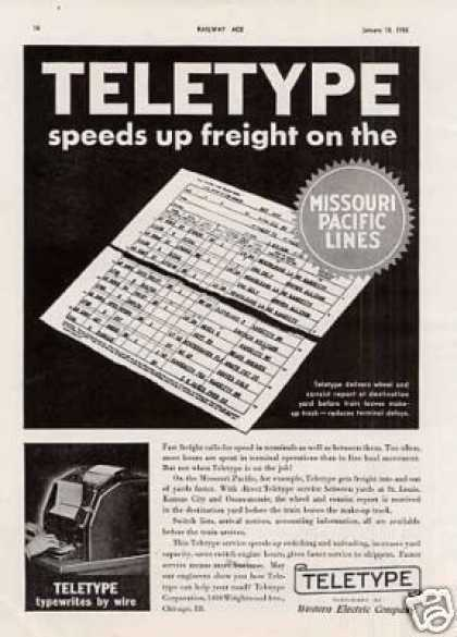 "Teletype Ad ""Teletype Speeds Up... (1936)"
