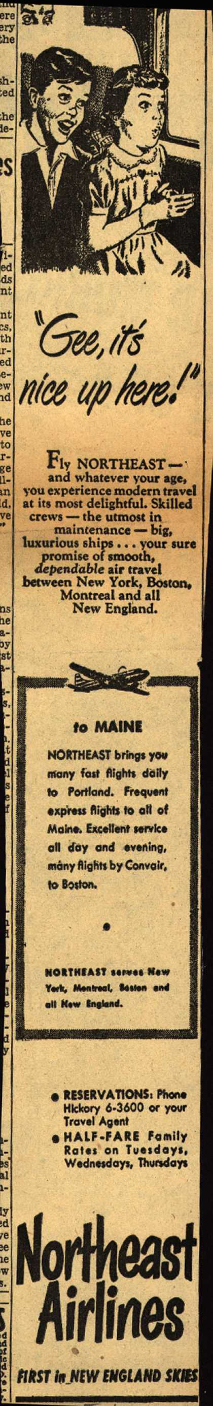 "Northeast Airline's Maine – ""Gee, it's nice up here!"" (1952)"