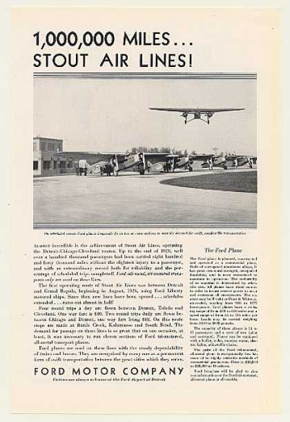 Stout Airlines Ford Tri-Motor Airplane Photo (1930)