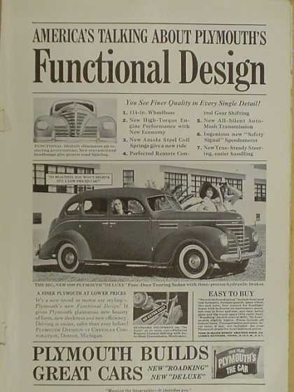 Plymouth autos Functional design. Plymouth builds great cars (1939)