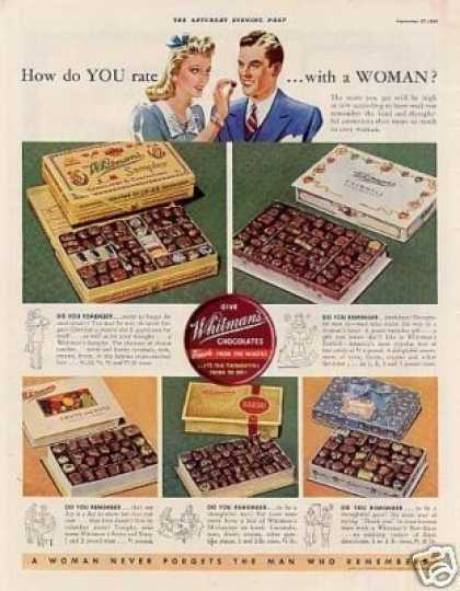 "Whitman's Chocolate Candy Ad ""How Do You Rate... (1941)"