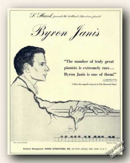 Byron Janis Drawing Piano Rare Ad Music (1959)