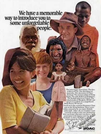 "Boac Print Ad W/ Route Map ""Unforgettable People"" (1967)"