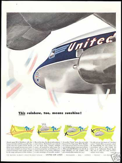 United Airlines DC-6 DC6 Mainliner Travel Route (1952)