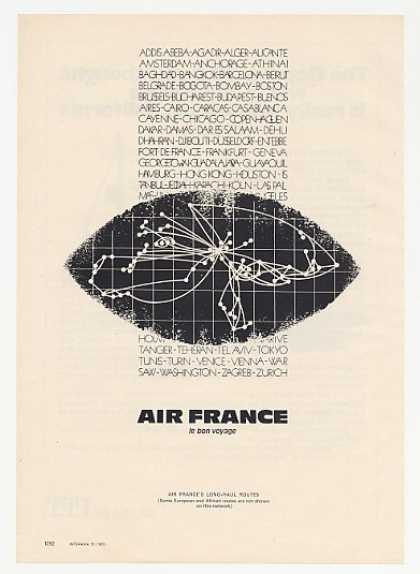 Air France Airlines Long-Haul Routes Network (1972)