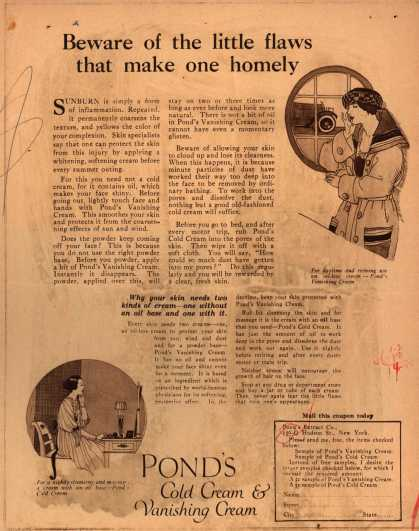 Pond's Extract Co.'s Pond's Cold Cream and Vanishing Cream – Beware of the little flaws that make one homely (1920)