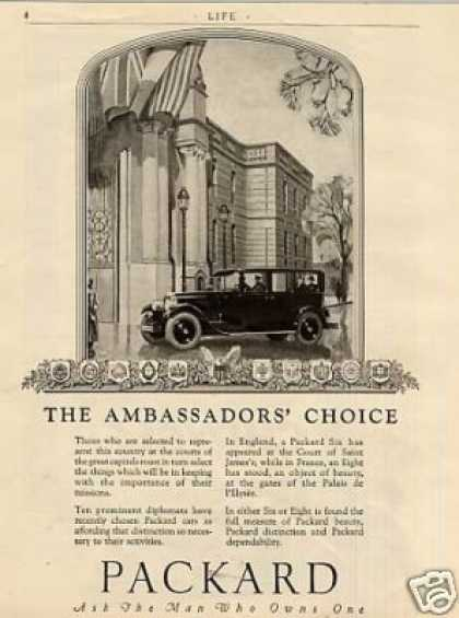 "Packard Car Ad ""The Ambassadors Choice... (1926)"