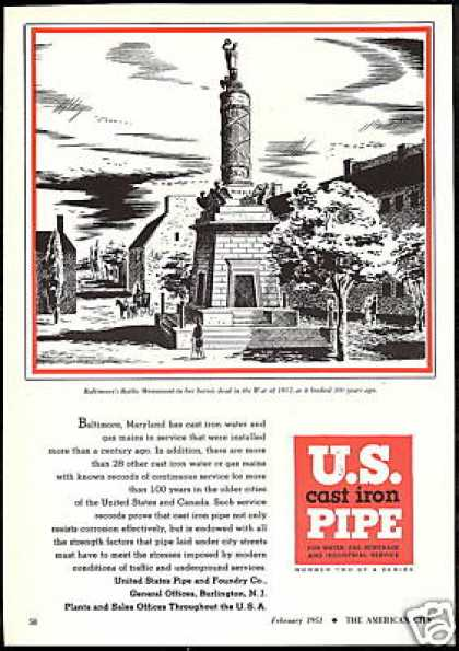Baltimore Maryland Battle Monument 1851 US Pipe (1951)