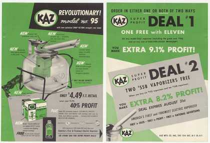 KAZ Model 95 Electric Vaporizer 2-Page Trade (1955)