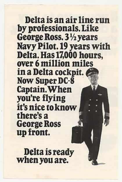 Delta Airlines Pilot Captain George Ross Photo (1971)